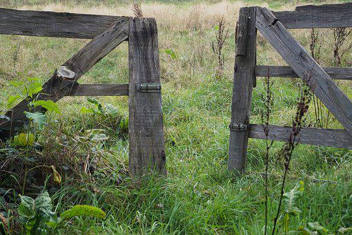 Goal, Wooden Gate, Input, Wood, Old, Access, Open