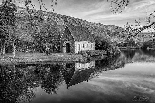 Chapel, Reflection, B W, Nature, Scenic, Water