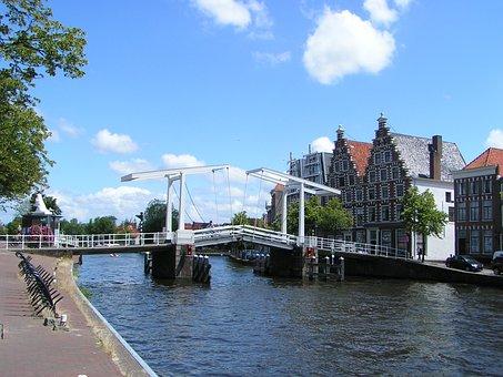 Harlem, Spaarne, Bridge, Old Town, River, Netherlands