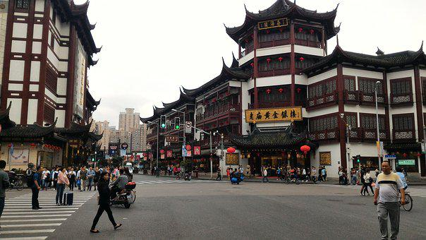 Market In Shang Hai, Chinese Architect, Day Time