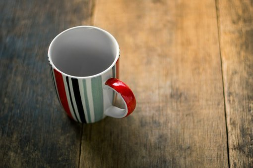 Cup, Top, View, Coffee, Table, Vintage, Background
