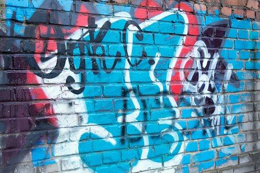 Graffiti, Street Art, Art, Wall, Figure, Abstract, Blue