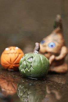 Figure, Pumpkin, Miniature, Water, Reflection, Small