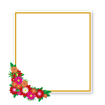 Flowers, Sticker, Frame, Square, Element, Graphics