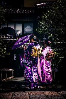 Kyoto, Japan, Japanese, Kimono, Geisha Girls, Parasol