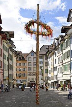 Maypole, Bremgarten, Old Town, Marktgasse