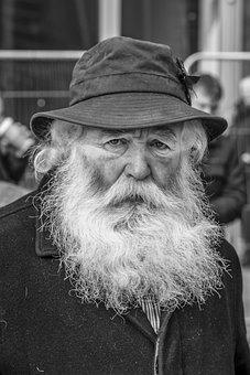 B W, Man, Old, Beard, People, Outdoor, Character, Hat