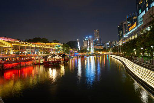 Skyscraper, Singapore, Water, River, Urban
