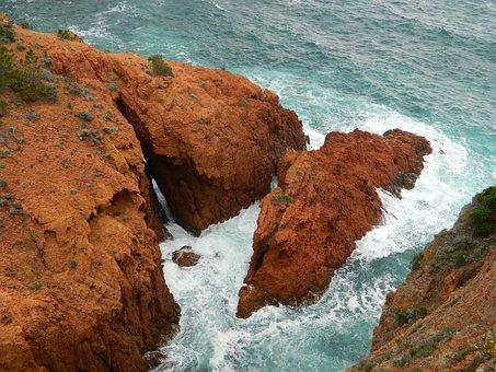 St Raphael, Cote D'azure, Sea, Landscape, Rock