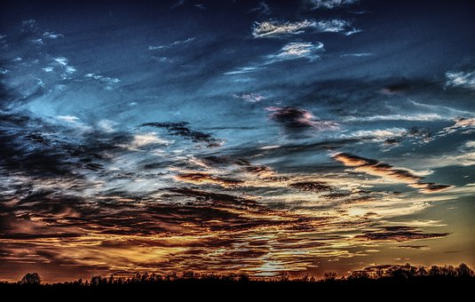 Sunset, Evening, Afterglow, Dramatic, Blue, Clouds