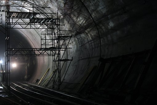 Tunnel, Light, Shadow, Scaffold, Site, Abstract