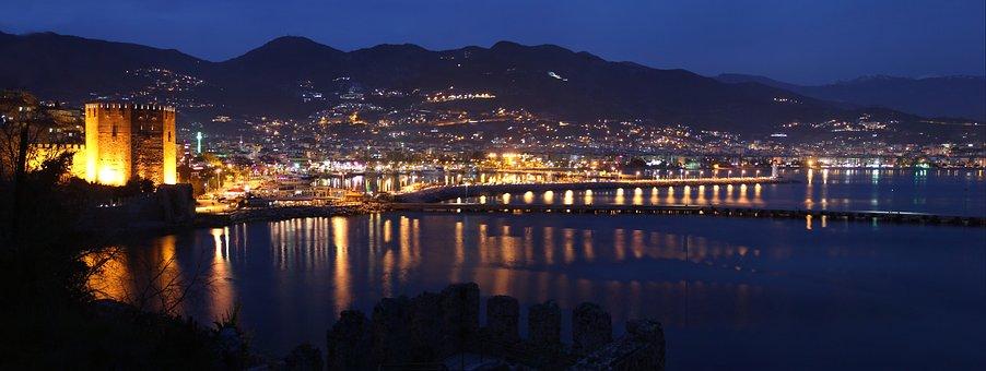 Alanya, Night, Kızılkule, Turkey, Antalya, Marine, Blue