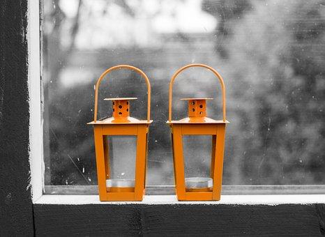 Lamps, Lanterns, Window, Black, White, Orange