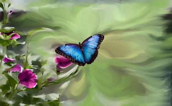 Blue Butterfly, Petunia, Garden Green, Blue, Butterfly