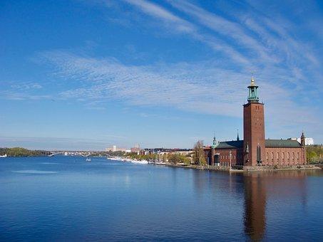 Stockholm, City Hall, Horizon, Skyline, Sweden