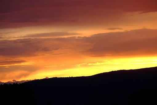 Evening Sky, Sunset, Afterglow, Clouds, Abendstimmung