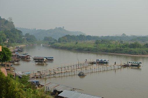 Golden Triangle, Laos, Boats, River, Boat, Canoe, Dawn