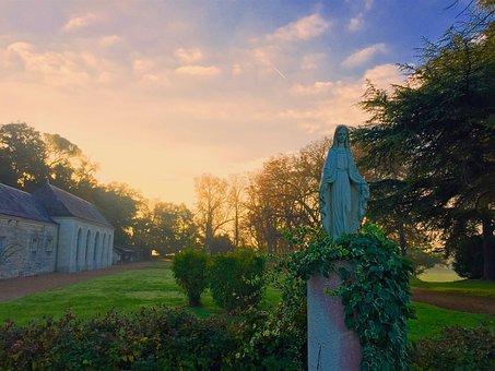 Mary, Dawn, Statue, Sunrise