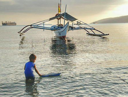 Kids, Boat, Philippines, Sea, Subic Bay, Travel