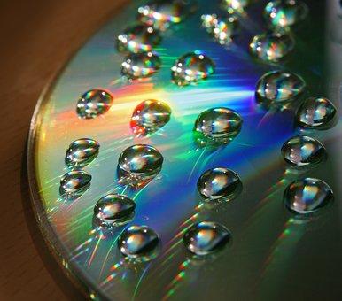 Disc, Cd, Dvd, Drops, Reflection, Rainbow Colors