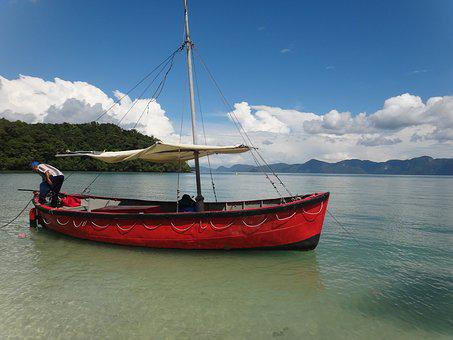 Malaysia, Boot, Red, Sailing Boat, Langkawi, Fischer