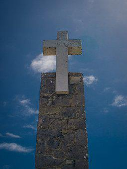 Cross, Cape Roca, Sky, Stele, Blue, Portugal