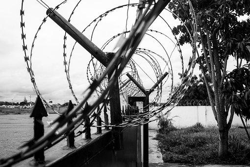 Fence, Steel, Wall, Black, White, Metallic, Outdoor