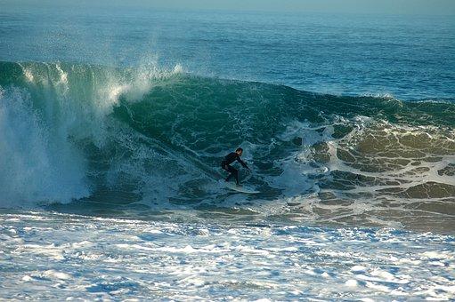 Surfing Line, Beach, Ocean, Wave, Surfer