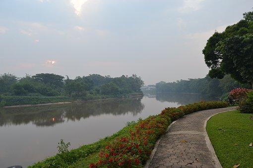 Dawn, Chiang Rai, Thailand, Walk, Mist, Reflection