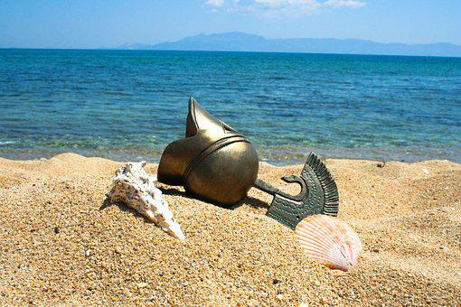 Helmet, Beach, Sand, Greece, Shall