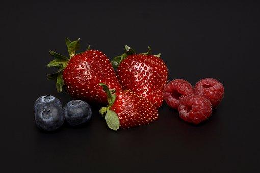 Strawberries, Blueberries, Raspberries, Delicious