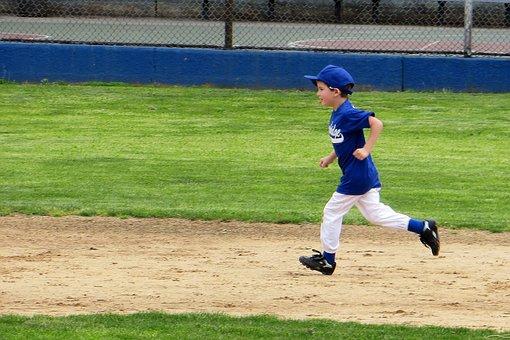 Little League, Baseball, Boy, Small, Green, Blue