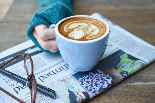 Coffee, Latte, Newspaper, Hands, El, Brown, Food