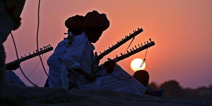 Pushkar, India, Camel Trekking, Musicians, Sunset