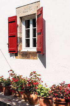 Day, Flowers, House, Pot, Pots, Red, Shutters, Stone