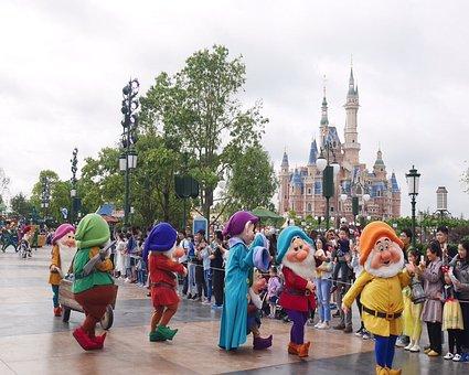 Theme-park, Shanghai Disneyland, Shanghai, Happy, Dwarf