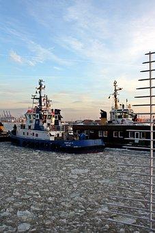 Tug, Bugsier, Harbour Cruise, Winter, Ice, Port