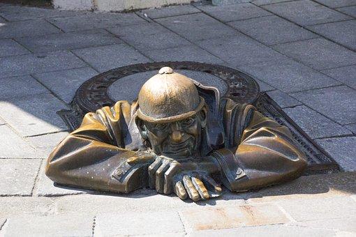 Bratislava, Man, Manhole Cover, Bronze