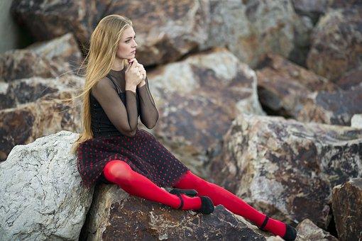 Woman, Red, Socks, Model, People, Portrait, Fiction