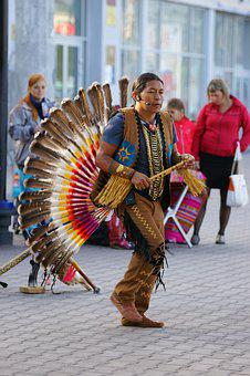 Man, One, Musician, National Costume Of Indian, Russia