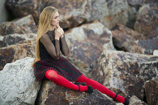 Women's, Red, Socks, Model, Exposure, People, Portrait