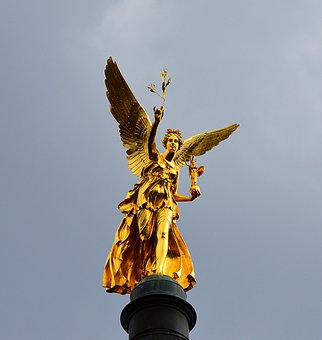 Angel Of Peace, Gilded, Munich, Pillar, Statue