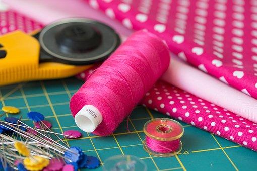 Sewing, Patchwork, Körkés, Thread, Pink, Spindle, Pin