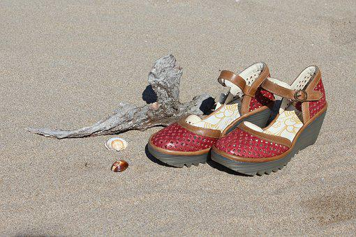 Red Shoes, Ladies Shoes, Beach Shoes, Beach Sandals