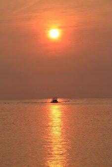 Sunrise, Sun, The Rising Sun, Orange, The Sea
