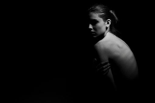 Black And White, Portrait, Black, Human, Back, Model
