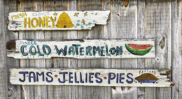 Vintage Farmer's Market Sign, Jelly, Cherry Pie