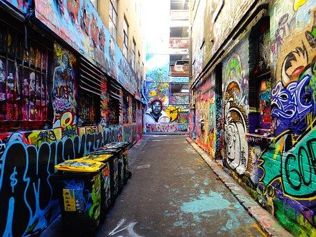 Hosierlane, Alley, Backyard, City, Grafitti, Spray