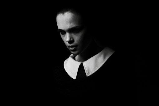 Fashion, Portrait, Black And White, Dark, Evil, Collar