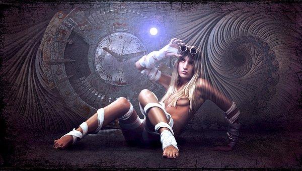 Woman, Light, Steampunk, Composing, Art, Lighting